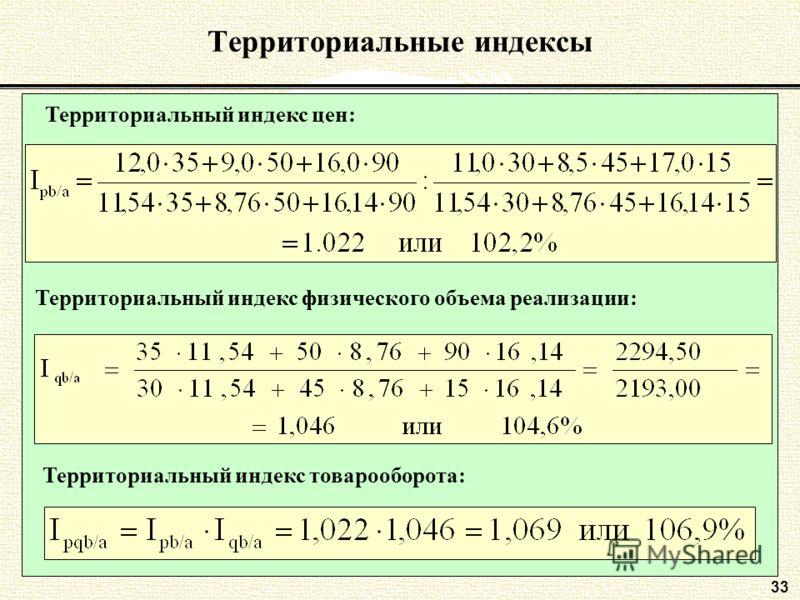 33 Территориальные индексы Территориальный индекс цен: Территориальный индекс физического объема реализации: Территориальный индекс товарооборота:
