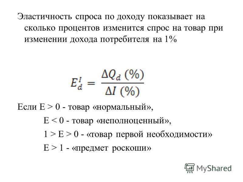 Эластичность спроса по доходу показывает на сколько процентов изменится спрос на товар при изменении дохода потребителя на 1% Если Е > 0 - товар «нормальный», Е < 0 - товар «неполноценный», 1 > Е > 0 - «товар первой необходимости» Е > 1 - «предмет ро