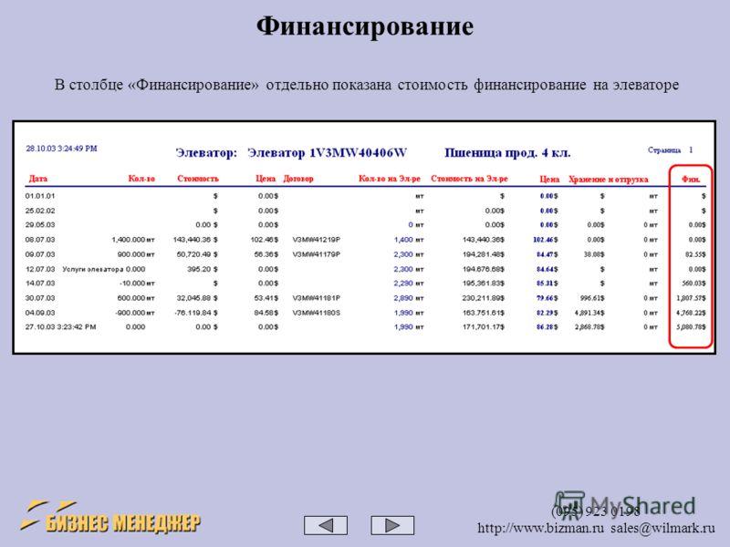 (095) 923 0198 http://www.bizman.ru sales@wilmark.ru Финансирование В столбце «Финансирование» отдельно показана стоимость финансирование на элеваторе