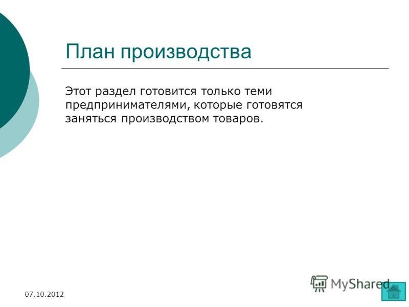 План производства Этот раздел готовится только теми предпринимателями, которые готовятся заняться производством товаров. 28.07.2012