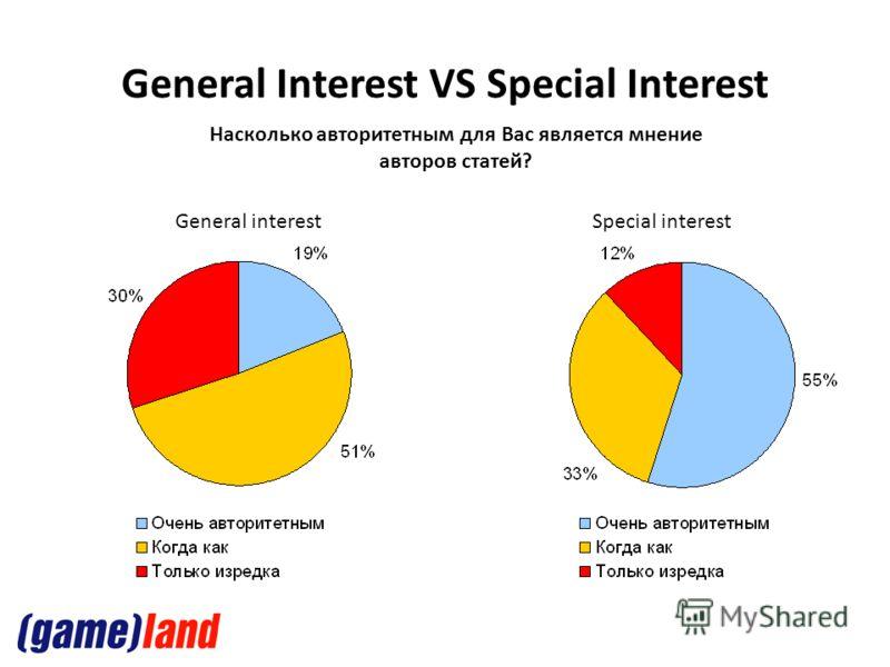 General Interest VS Special Interest Насколько авторитетным для Вас является мнение авторов статей? General interestSpecial interest