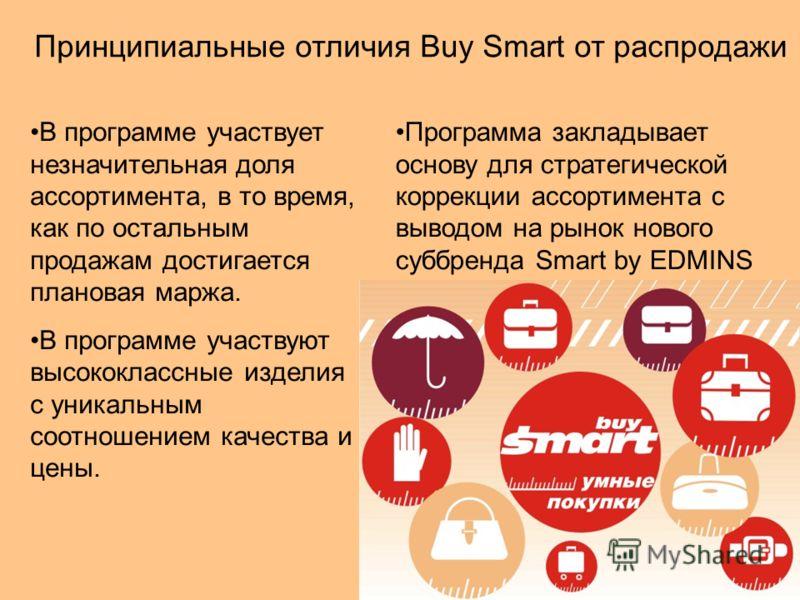 Принципиальные отличия Buy Smart от распродажи В программе участвует незначительная доля ассортимента, в то время, как по остальным продажам достигается плановая маржа. В программе участвуют высококлассные изделия с уникальным соотношением качества и