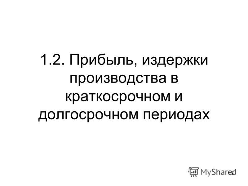 1.2. Прибыль, издержки производства в краткосрочном и долгосрочном периодах 15