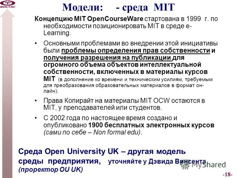 -18- Модели: - среда MIT Концепцию MIT OpenCourseWare стартована в 1999 г. по необходимости позиционировать MIT в среде e- Learning. Основными проблемами во внедрении этой инициативы были проблемы определения прав собственности и получения разрешения