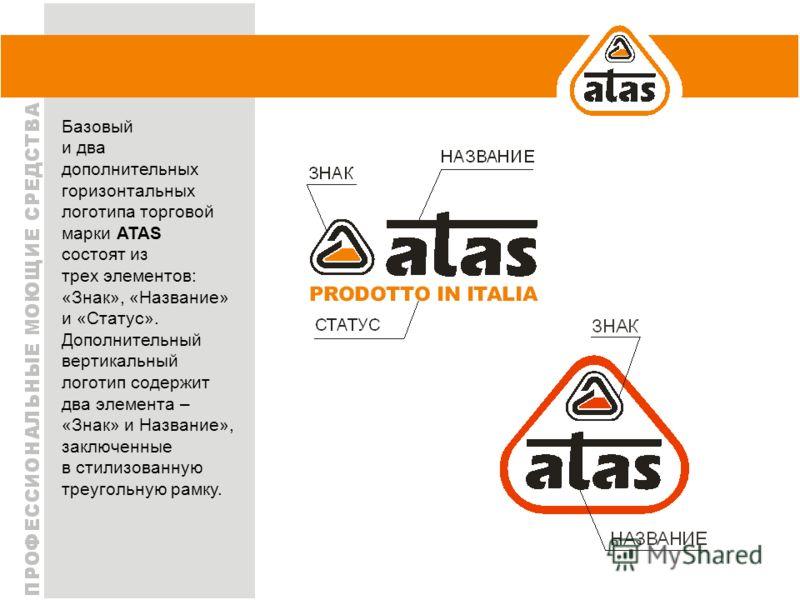 Базовый и два дополнительных горизонтальных логотипа торговой марки ATAS состоят из трех элементов: «Знак», «Название» и «Статус». Дополнительный вертикальный логотип содержит два элемента – «Знак» и Название», заключенные в стилизованную треугольную