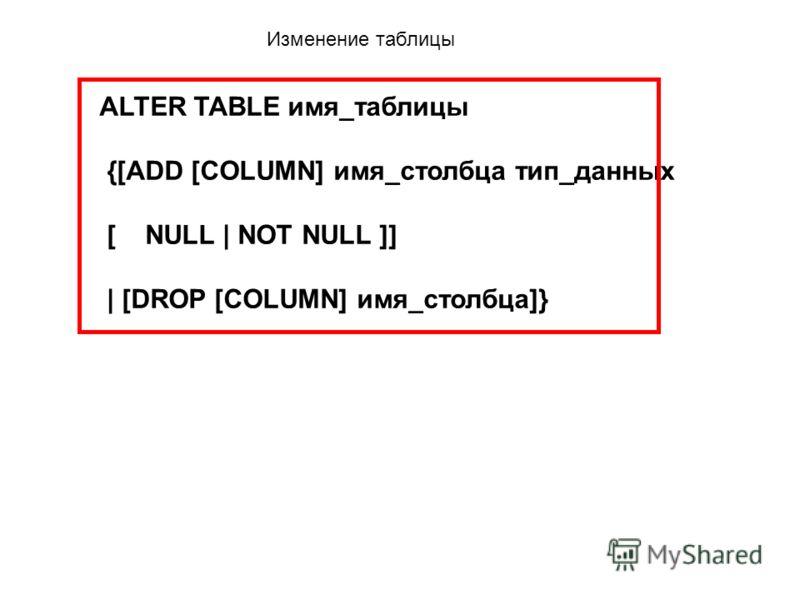 Изменение таблицы ALTER TABLE имя_таблицы {[ADD [COLUMN] имя_столбца тип_данных [ NULL | NOT NULL ]] | [DROP [COLUMN] имя_столбца]}