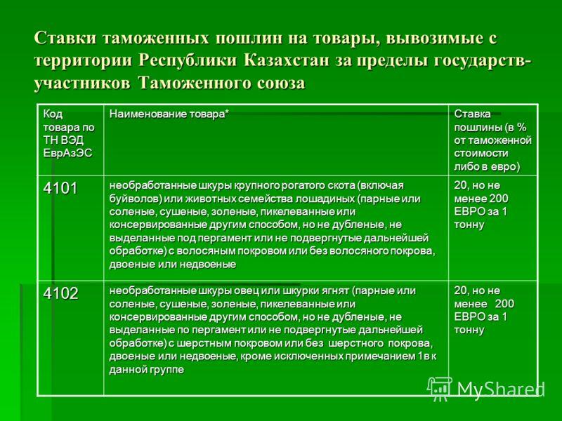 Ставки таможенных пошлин на товары, вывозимые с территории Республики Казахстан за пределы государств- участников Таможенного союза Код товара по ТН ВЭД ЕврАзЭС Наименование товара* Ставка пошлины (в % от таможенной стоимости либо в евро) 4101 необра