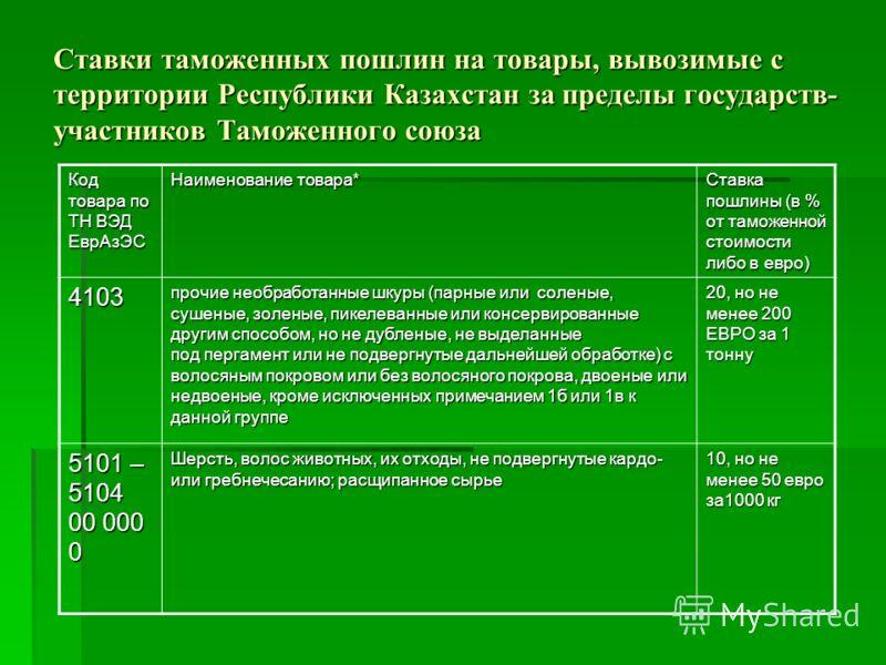 Ставки таможенных пошлин на товары, вывозимые с территории Республики Казахстан за пределы государств- участников Таможенного союза Код товара по ТН ВЭД ЕврАзЭС Наименование товара* Ставка пошлины (в % от таможенной стоимости либо в евро) 4103 прочие