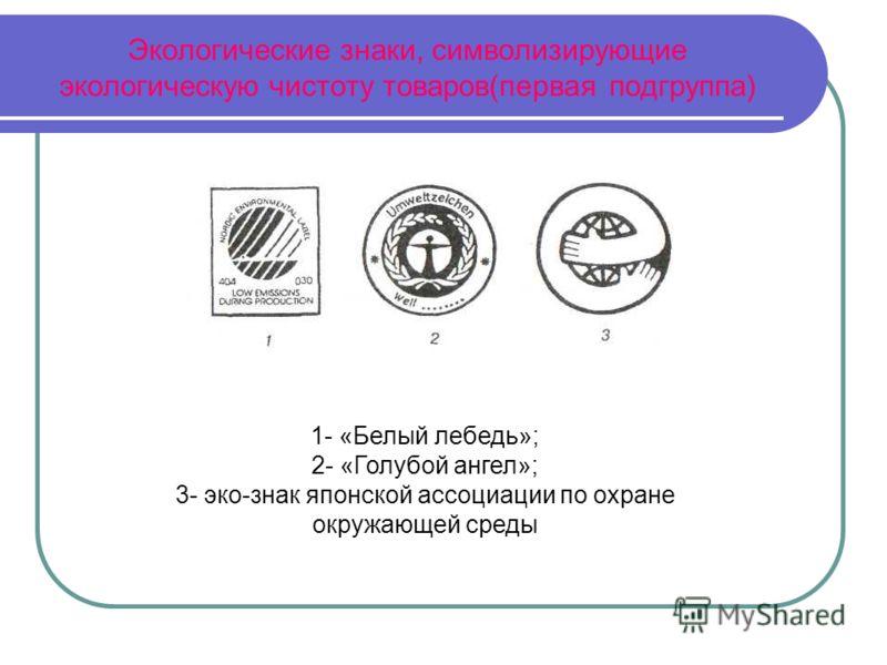 Экологические знаки, символизирующие экологическую чистоту товаров(первая подгруппа) 1- «Белый лебедь»; 2- «Голубой ангел»; 3- эко-знак японской ассоциации по охране окружающей среды