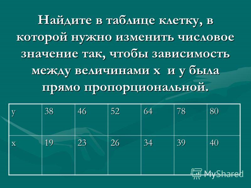 у384652647880 х192326343940 Найдите в таблице клетку, в которой нужно изменить числовое значение так, чтобы зависимость между величинами x и y была прямо пропорциональной.