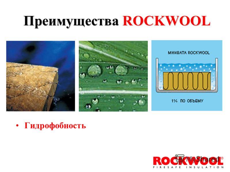 Гидрофобность Преимущества ROCKWOOL