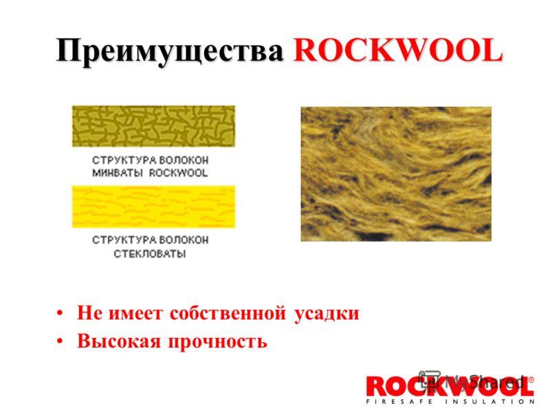 Не имеет собственной усадки Высокая прочность Преимущества ROCKWOOL
