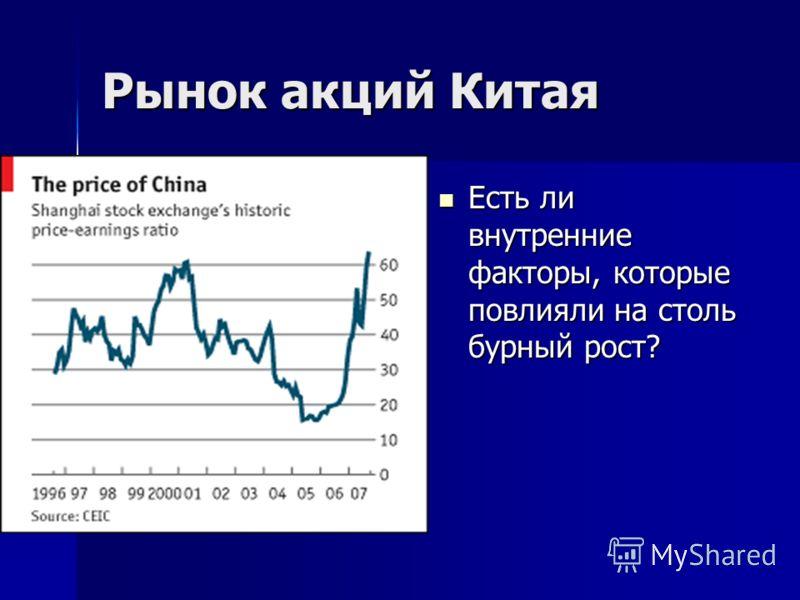 Рынок акций Китая Есть ли внутренние факторы, которые повлияли на столь бурный рост? Есть ли внутренние факторы, которые повлияли на столь бурный рост?