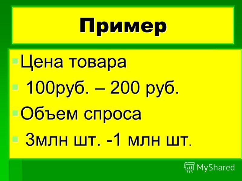 Пример Цена товара Цена товара 100руб. – 200 руб. 100руб. – 200 руб. Объем спроса Объем спроса 3млн шт. -1 млн шт. 3млн шт. -1 млн шт.