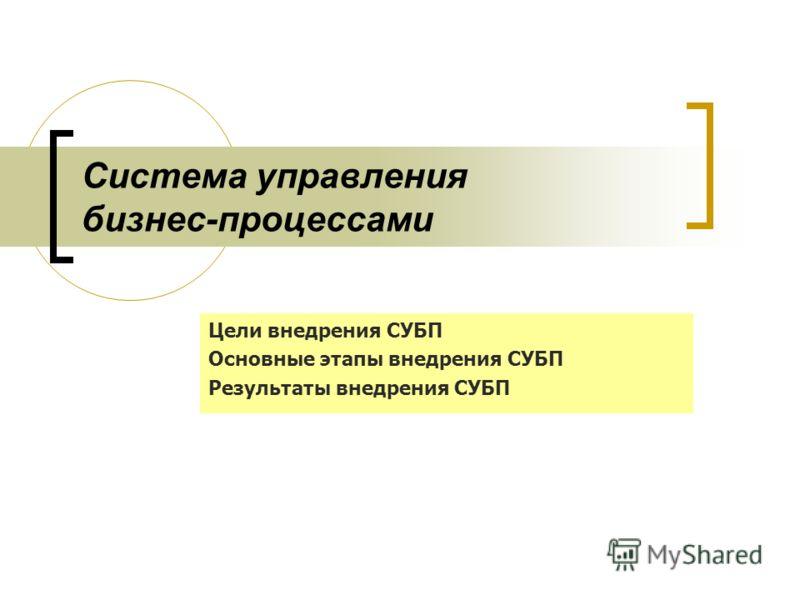 Система управления бизнес-процессами Цели внедрения СУБП Основные этапы внедрения СУБП Результаты внедрения СУБП