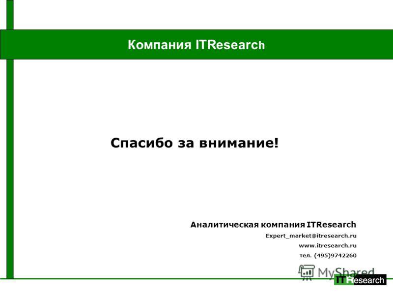 Компания ITResearc h Спасибо за внимание! Аналитическая компания ITResearch Expert_market@itresearch.ru www.itresearch.ru тел. (495)9742260