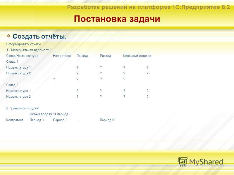 Разработка решений на платформе 1С:Предприятие 8.2 Постановка задачи Создать отчёты. Сформировать отчёты: 1.