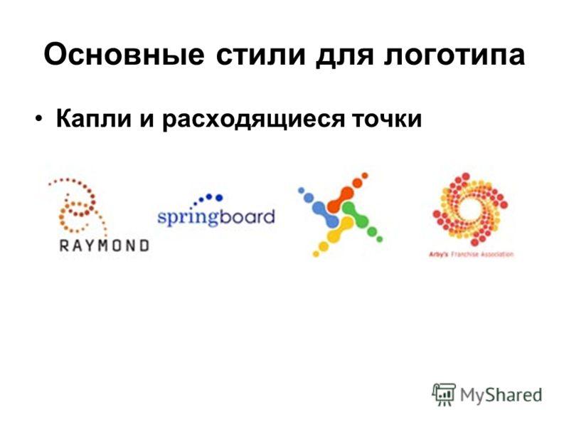 Основные стили для логотипа Капли и расходящиеся точки