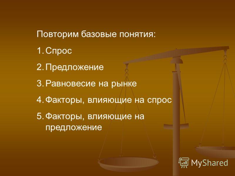 Повторим базовые понятия: 1.Спрос 2.Предложение 3.Равновесие на рынке 4.Факторы, влияющие на спрос 5.Факторы, влияющие на предложение
