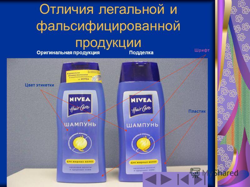Отличия легальной и фальсифицированной продукции Оригинальная продукцияПодделка Цвет этикетки Шрифт Пластик