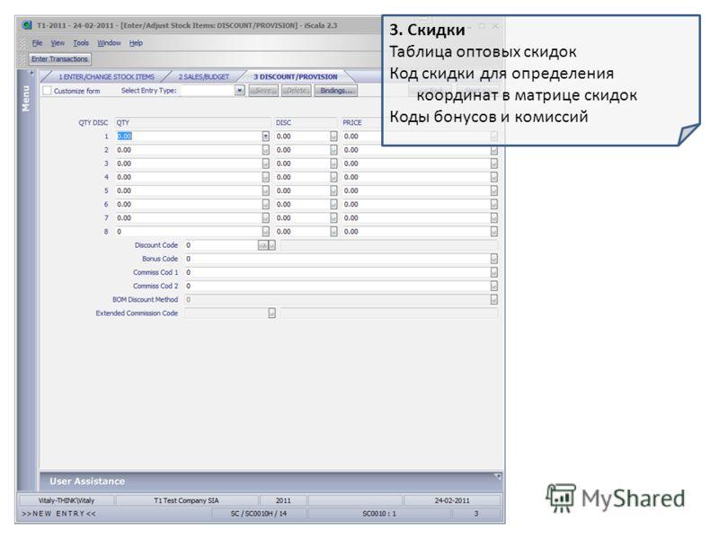 3. Скидки Таблица оптовых скидок Код скидки для определения координат в матрице скидок Коды бонусов и комиссий