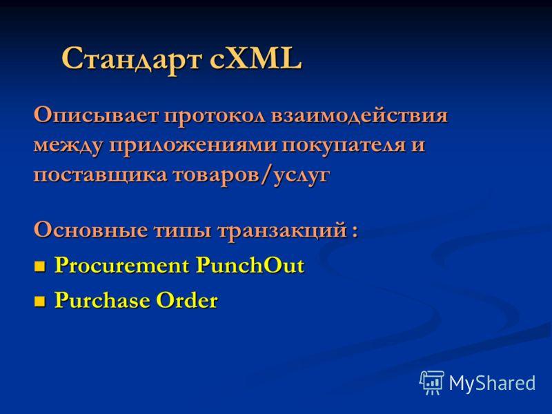 Стандарт cXML Описывает протокол взаимодействия между приложениями покупателя и поставщика товаров/услуг Основные типы транзакций : Procurement PunchOut Procurement PunchOut Purchase Order Purchase Order