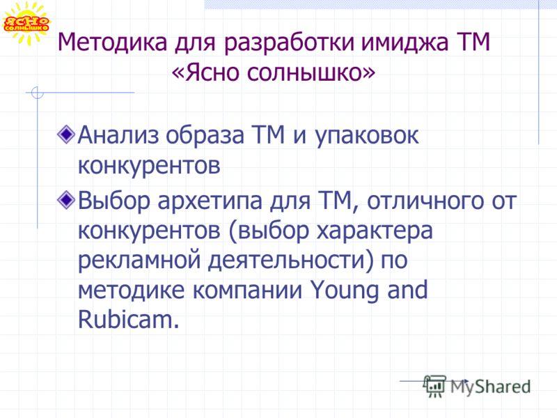 Методика для разработки имиджа ТМ «Ясно солнышко» Анализ образа ТМ и упаковок конкурентов Выбор архетипа для ТМ, отличного от конкурентов (выбор характера рекламной деятельности) по методике компании Young and Rubicam.
