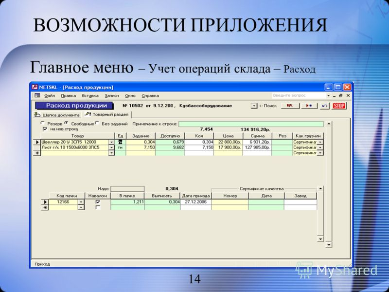 ВОЗМОЖНОСТИ ПРИЛОЖЕНИЯ 14 Главное меню – Учет операций склада – Расход