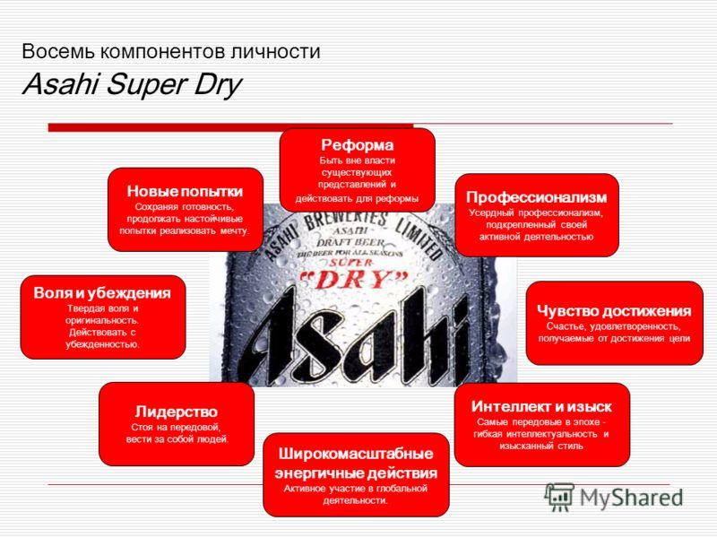 Восемь компонентов личности Asahi Super Dry Воля и убеждения Твердая воля и оригинальность. Действовать с убежденностью. Широкомасштабные энергичные действия Активное участие в глобальной деятельности. Чувство достижения Счастье, удовлетворенность, п