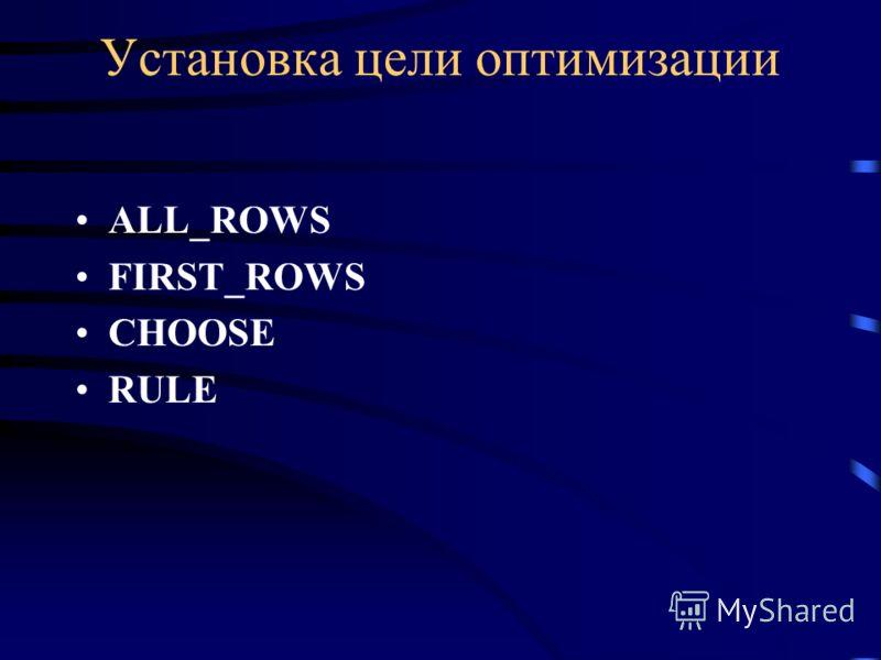 Установка цели оптимизации ALL_ROWS FIRST_ROWS CHOOSE RULE