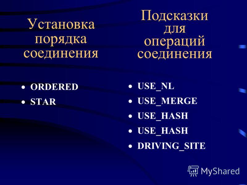 Установка порядка соединения ORDERED STAR USE_NL USE_MERGE USE_HASH DRIVING_SITE Подсказки для операций соединения