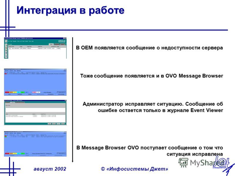 август 2002© «Инфосистемы Джет» Интеграция в работе В OEM появляется сообщение о недоступности сервера Тоже сообщение появляется и в OVO Message Browser Администратор исправляет ситуацию. Сообщение об ошибке остается только в журнале Event Viewer В M