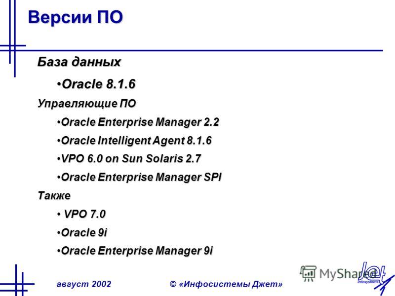 август 2002© «Инфосистемы Джет» Версии ПО База данных Oracle 8.1.6Oracle 8.1.6 Управляющие ПО Oracle Enterprise Manager 2.2Oracle Enterprise Manager 2.2 Oracle Intelligent Agent 8.1.6Oracle Intelligent Agent 8.1.6 VPO 6.0 on Sun Solaris 2.7VPO 6.0 on