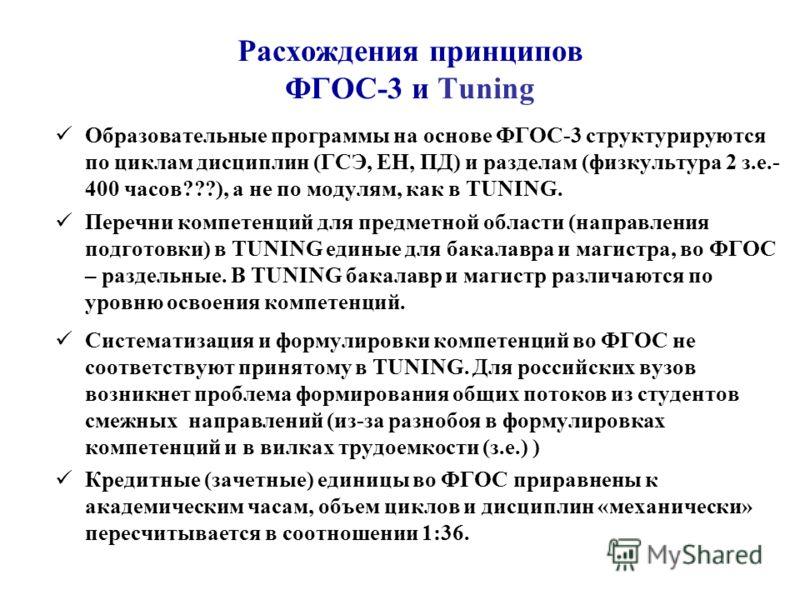 Расхождения принципов ФГОС-3 и Tuning Образовательные программы на основе ФГОС-3 структурируются по циклам дисциплин (ГСЭ, ЕН, ПД) и разделам (физкультура 2 з.е.- 400 часов???), а не по модулям, как в TUNING. Перечни компетенций для предметной област