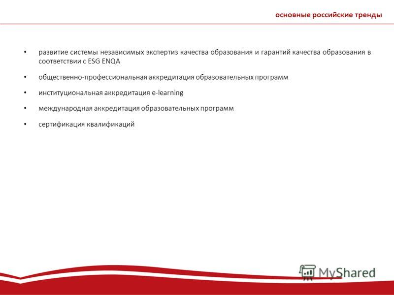 развитие системы независимых экспертиз качества образования и гарантий качества образования в соответствии с ESG ENQA общественно-профессиональная аккредитация образовательных программ институциональная аккредитация e-learning международная аккредита