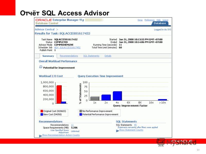 51 Отчёт SQL Access Advisor