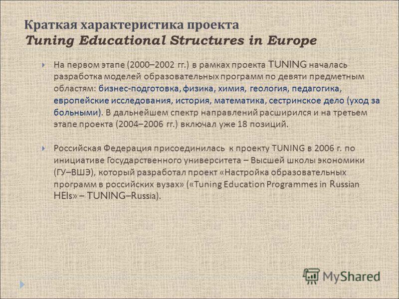 Краткая характеристика проекта Tuning Educational Structures in Europe На первом этапе (2000–2002 гг.) в рамках проекта TUNING началась разработка моделей образовательных программ по девяти предметным областям : бизнес - подготовка, физика, химия, ге