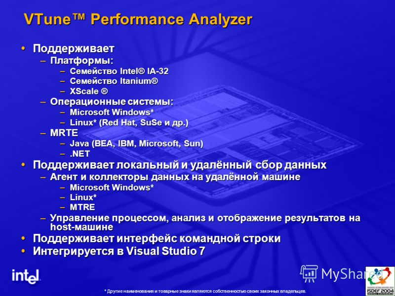 VTune Performance Analyzer Поддерживает Поддерживает –Платформы: –Семейство Intel® IA-32 –Семейство Itanium® –XScale ® –Операционные системы: –Microsoft Windows* –Linux* (Red Hat, SuSe и др.) –MRTE –Java (BEA, IBM, Microsoft, Sun) –.NET Поддерживает