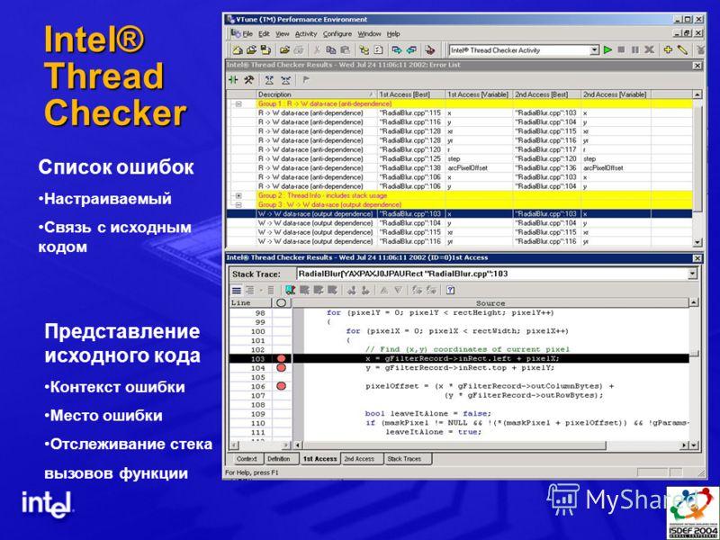 Intel® Thread Checker Список ошибок Настраиваемый Связь с исходным кодом Представление исходного кода Контекст ошибки Место ошибки Отслеживание стека вызовов функции