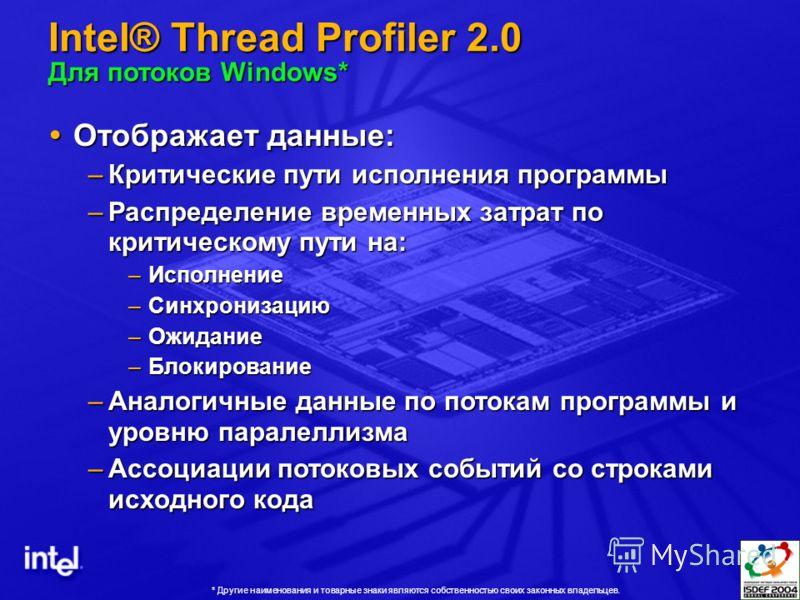 Intel® Thread Profiler 2.0 Для потоков Windows* Отображает данные: Отображает данные: –Критические пути исполнения программы –Распределение временных затрат по критическому пути на: –Исполнение –Синхронизацию –Ожидание –Блокирование –Аналогичные данн