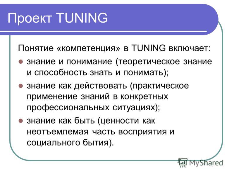 Проект TUNING Понятие «компетенция» в TUNING включает: знание и понимание (теоретическое знание и способность знать и понимать); знание как действовать (практическое применение знаний в конкретных профессиональных ситуациях); знание как быть (ценност