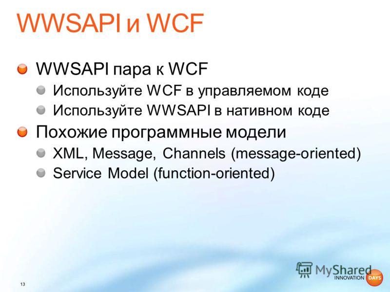 WWSAPI пара к WCF Используйте WCF в управляемом коде Используйте WWSAPI в нативном коде Похожие программные модели XML, Message, Channels (message-oriented) Service Model (function-oriented)