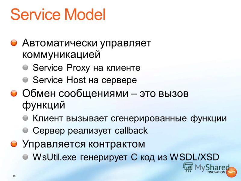 Автоматически управляет коммуникацией Service Proxy на клиенте Service Host на сервере Обмен сообщениями – это вызов функций Клиент вызывает сгенерированные функции Сервер реализует callback Управляется контрактом WsUtil.exe генерирует C код из WSDL/