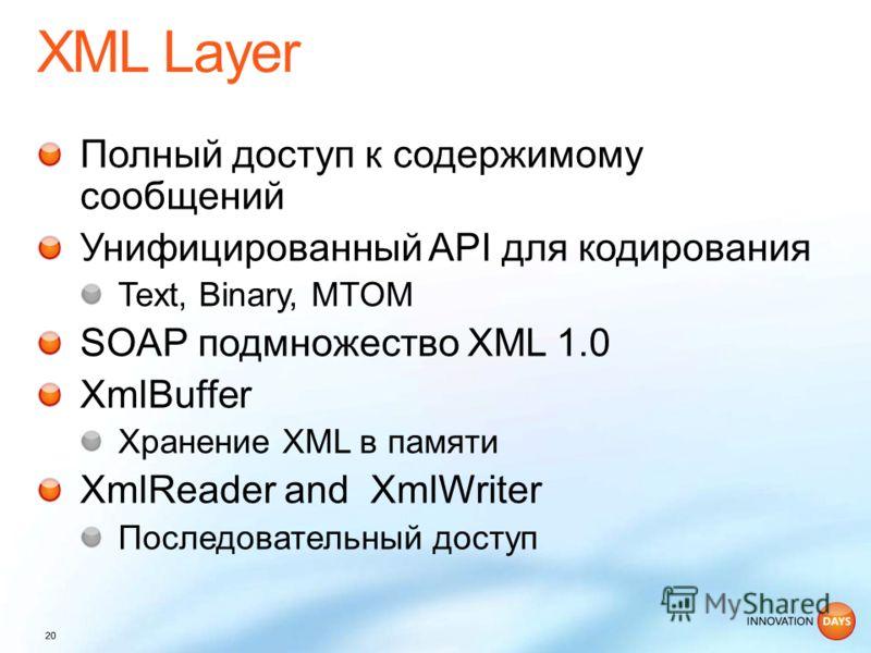 Полный доступ к содержимому сообщений Унифицированный API для кодирования Text, Binary, MTOM SOAP подмножество XML 1.0 XmlBuffer Хранение XML в памяти XmlReader and XmlWriter Последовательный доступ