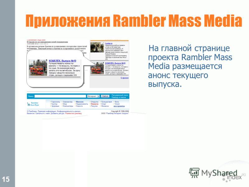 15 Приложения Rambler Mass Media На главной странице проекта Rambler Mass Media размещается анонс текущего выпуска.