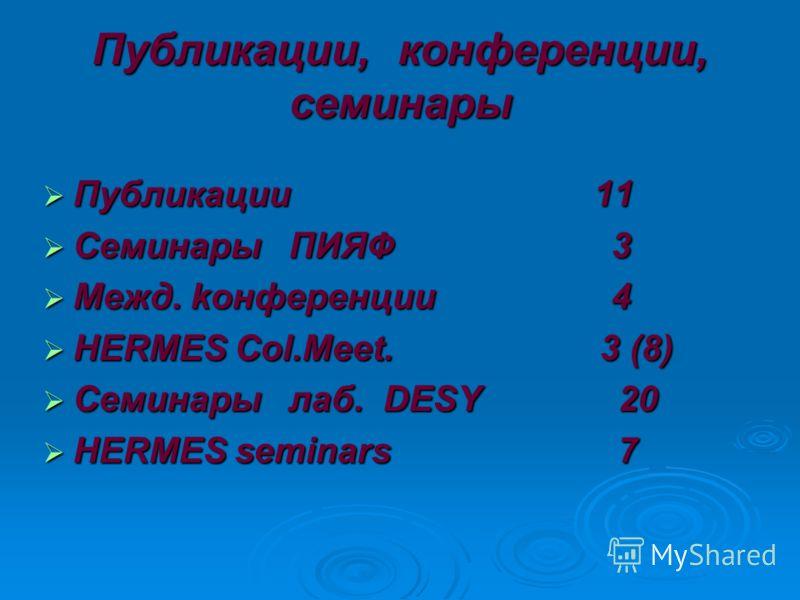 Публикации, конференции, семинары Публикации 11 Публикации 11 Семинары ПИЯФ 3 Семинары ПИЯФ 3 Межд. kонференции 4 Межд. kонференции 4 HERMES Col.Meet. 3 (8) HERMES Col.Meet. 3 (8) Семинары лаб. DESY 20 Семинары лаб. DESY 20 HERMES seminars 7 HERMES s