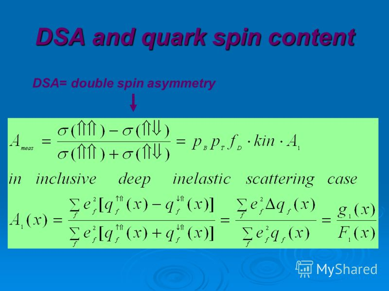DSA and quark spin content DSA= double spin asymmetry