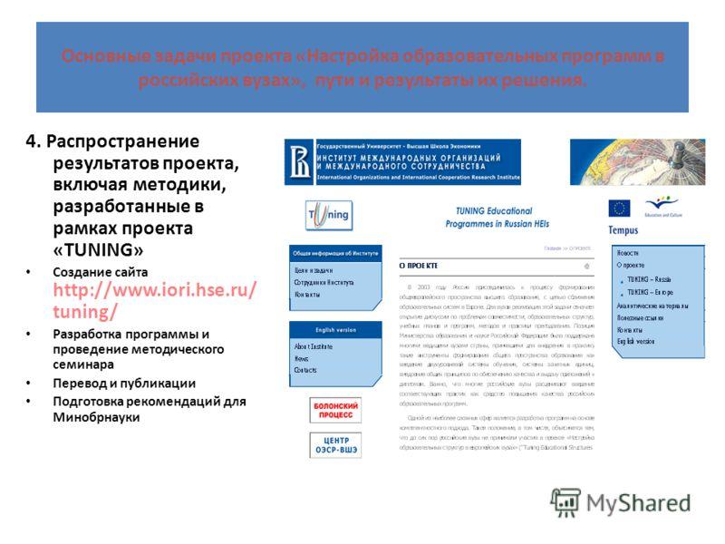 Основные задачи проекта «Настройка образовательных программ в российских вузах», пути и результаты их решения. 4. Распространение результатов проекта, включая методики, разработанные в рамках проекта «TUNING» Создание сайта http://www.iori.hse.ru/ tu