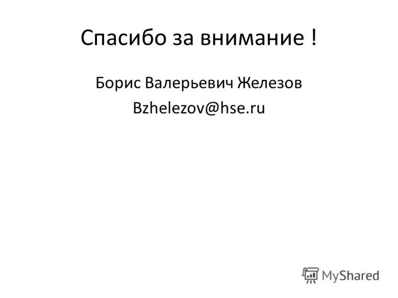 Спасибо за внимание ! Борис Валерьевич Железов Bzhelezov@hse.ru