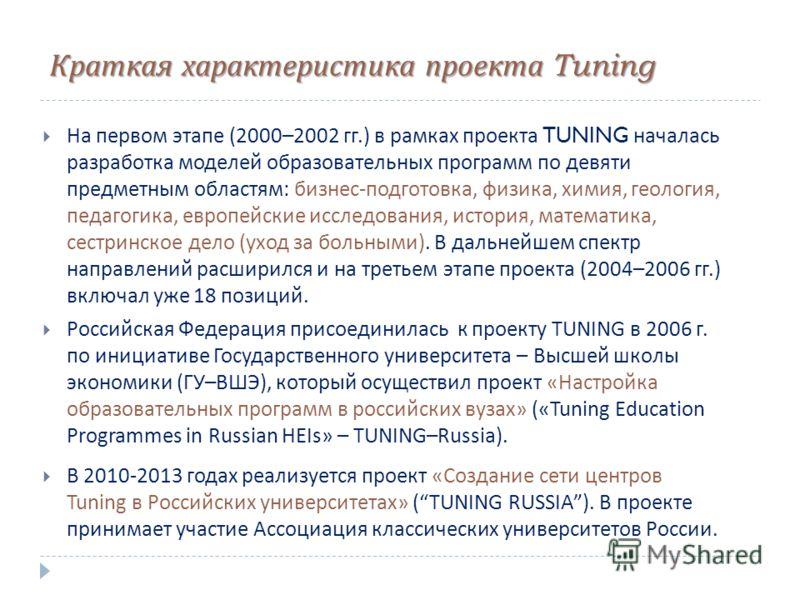 Краткая характеристика проекта Tuning На первом этапе (2000–2002 гг.) в рамках проекта TUNING началась разработка моделей образовательных программ по девяти предметным областям : бизнес - подготовка, физика, химия, геология, педагогика, европейские и